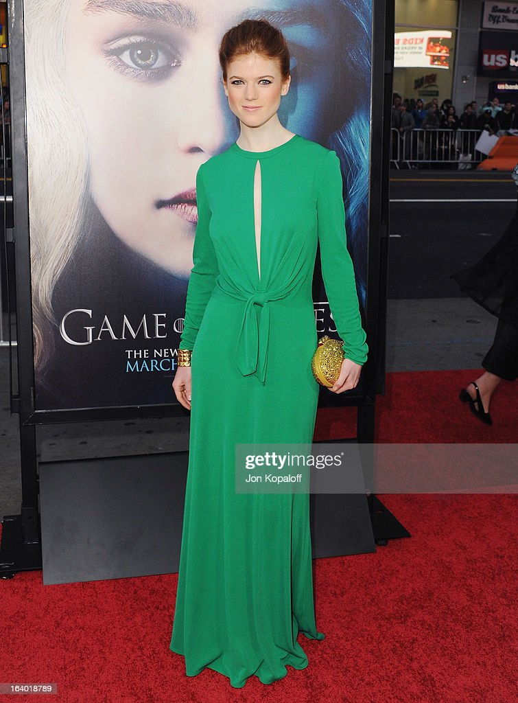 Actress Rose Leslie arrives at the Los Angeles Premiere of HBO's 'Game Of Thrones' Season 3 at TCL Chinese Theatre on March 18, 2013 in Hollywood, California.