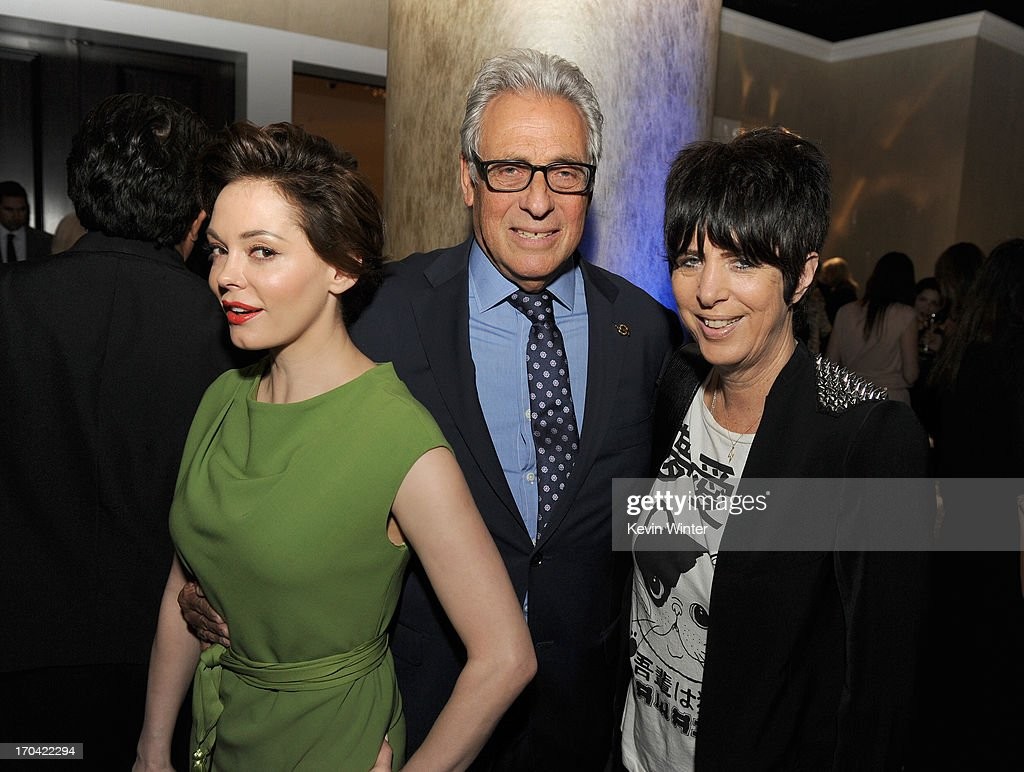 Actress Rose McGowan, Academy of Motion Picture Arts and Sciences President Hawk Koch, and songwriter Diane Warren attend Women In Film's 2013 Crystal + Lucy Awards at The Beverly Hilton Hotel on June 12, 2013 in Beverly Hills, California.