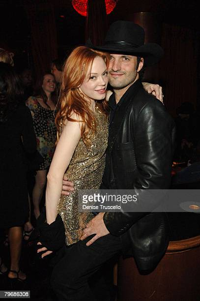 Actress Rose McGowan and actor Robert Rodriguez attend Frank Miller's birthday party at CatHouse at Luxor on February 9 2008 in Las Vegas Nevada