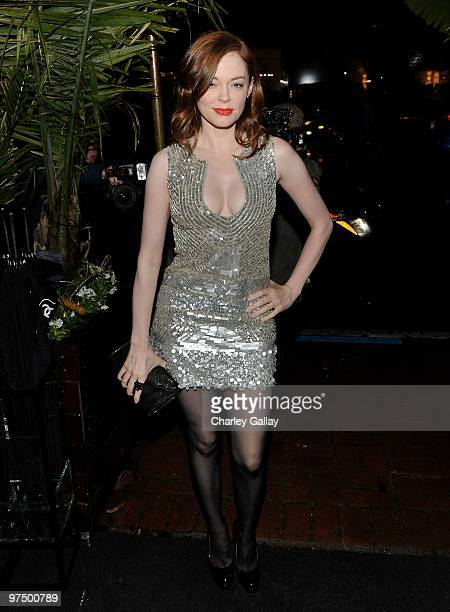 Actress Rose McGowan arrives at the Chanel and Charles Finch hosted preOscar dinner at Madeo Restaurant on March 6 2010 in Los Angeles California