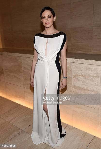 Actress Rose McGowan attends amfAR LA Inspiration Gala honoring Tom Ford at Milk Studios on October 29 2014 in Hollywood California