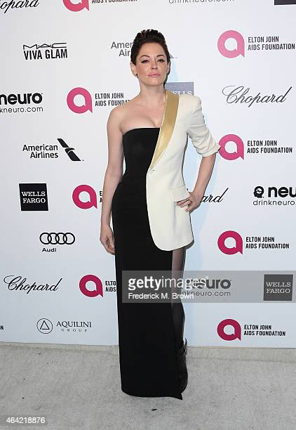 Actress Rose McGowan attends the 23rd Annual Elton John AIDS Foundation's Oscar Viewing Party on February 22 2015 in West Hollywood California