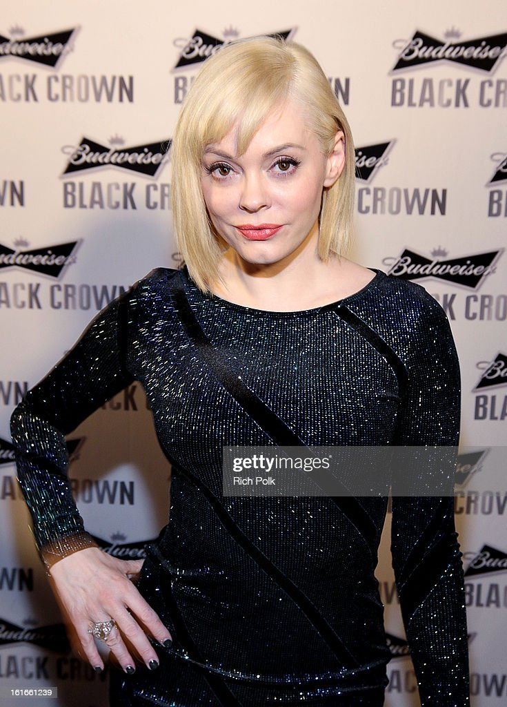 Actress Rose McGowan attends the Budweiser Black Crown Launch Party at gibson/baldwin showroom on February 13, 2013 in Los Angeles, California.