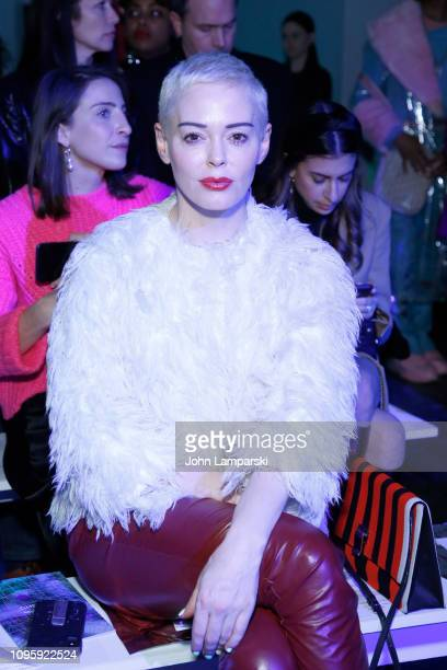 Actress Rose McGowan attends the Chromat front row during New York Fashion Week: The Shows at Industria Studios on February 8, 2019 in New York City.
