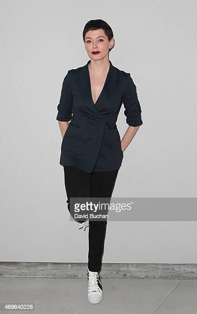 Actress Rose McGowan attends the Wolk Morais debut resort/prefall collection fashion show at Michael Kohn Gallery on April 13 2015 in Los Angeles...