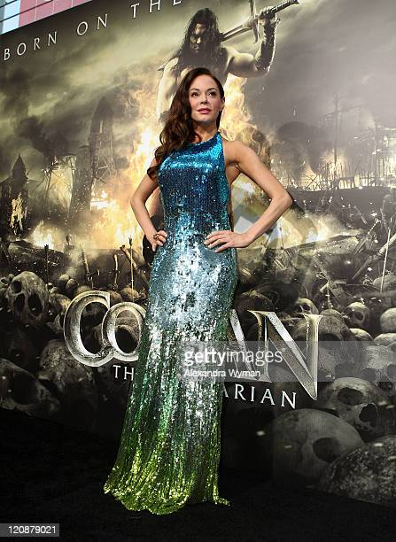 """Actress Rose McGowan attends the world premiere of """"Conan The Barbarian"""" held at Regal Cinemas L.A. Live on August 11, 2011 in Los Angeles,..."""
