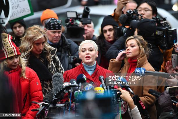 Actress Rose McGowan speaks during a press conference, after Harvey Weinstein arrived at State Supreme Court in Manhattan January 6, 2020 on the...
