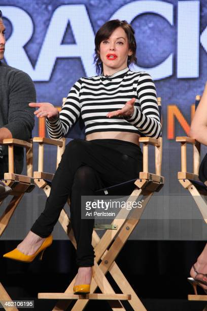 Actress Rose McGowan speaks on panel at Crackle TCA Presentation at The Langham Huntington Hotel and Spa on January 12 2014 in Pasadena California