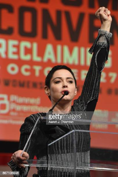 Actress Rose McGowan speaks on stage at The Women's Convention at Cobo Center on October 27 2017 in Detroit Michigan