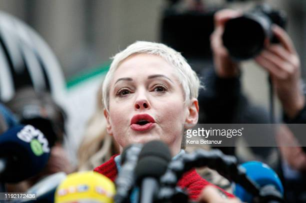 Actress Rose McGowan speaks to the media outside the court on January 6, 2020 in New York City. Weinstein, a movie producer whose alleged sexual...
