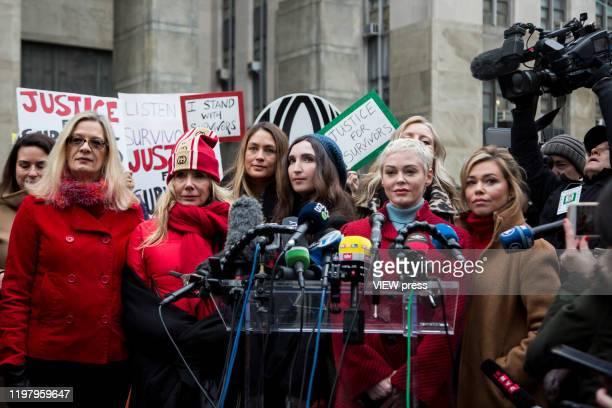 Actress Rose McGowan speaks with members of the media as Louise Godbold, Rosanna Arquette, Sarah Ann Masse and Lauren Sivan as Harvey Weinstein...