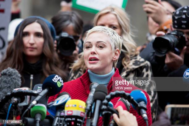 Actress Rose McGowan, who accused Weinstein of raping her and destroying her career, joins other accusers and protesters and speaks speech to the...