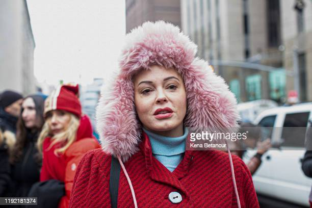 Actress Rose McGowan, who has accused Harvey Weinstein of rape, attends a press conference outside court on January 6, 2020 in New York City....
