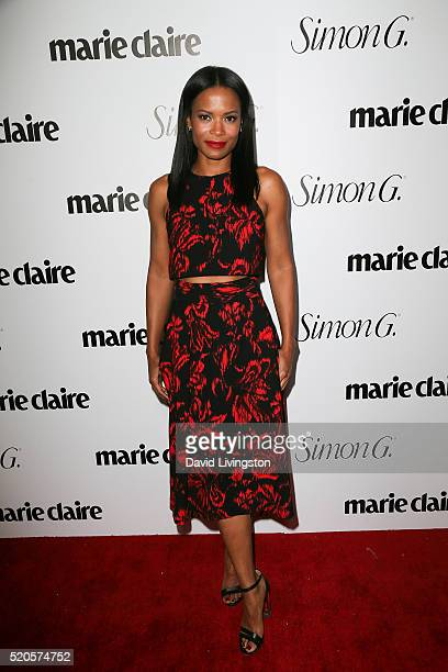 Actress Rose Rollins arrives at the Marie Claire Fresh Faces Party at the Sunset Tower Hotel on April 11 2016 in West Hollywood California