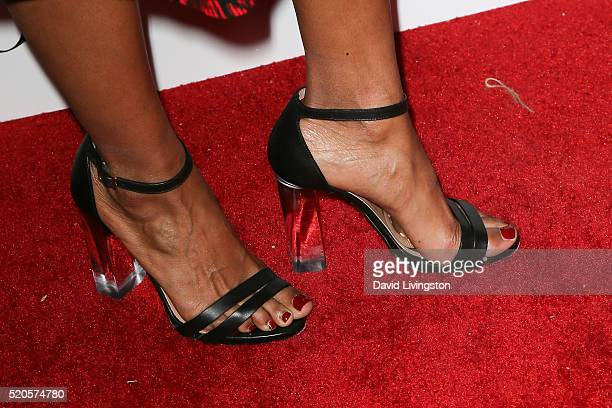 Actress Rose Rollins, shoe detail, arrives at the Marie Claire Fresh Faces Party at the Sunset Tower Hotel on April 11, 2016 in West Hollywood,...