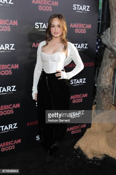 Actress Rose Williams attends the premiere of Starz's American Gods at the ArcLight Cinemas Cinerama Dome on April 20 2017 in Hollywood California