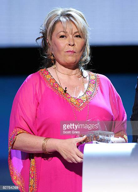 Actress Roseanne Barr eats cookies onstage at the MTV Networks Upfront at the Paramount Theater May 3, 2005 In New York City.