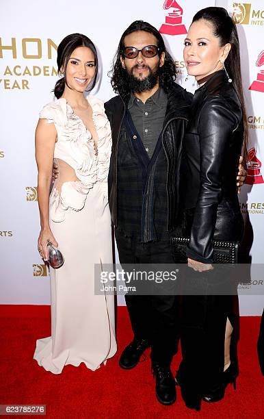Actress Roselyn Sanchez recording artist Draco Rosa and actress/director Angela Alvarado attend the 2016 Person of the Year honoring Marc Anthony at...