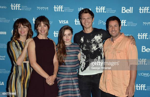 Actress Rosemarie DeWitt actress Jennifer Garner actress Kaitlyn Dever actor Ansel Elgort and actor Adam Sandler of Men Women and Children pose at...
