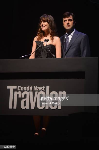 Actress Rosemarie DeWitt and actor Ron Livingston speak onstage at the Conde Nast Traveler Celebration of The Visionaries and 25 Years Of Truth In...