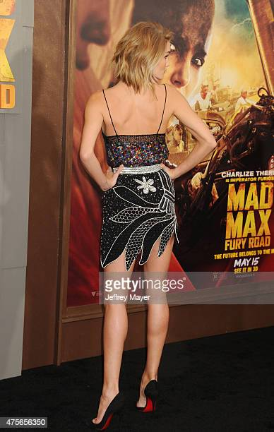 Actress Rosie HuntingtonWhiteley arrives at the Mad Max Fury Road Los Angeles Premiere at TCL Chinese Theatre IMAX on May 7 2015 in Hollywood...