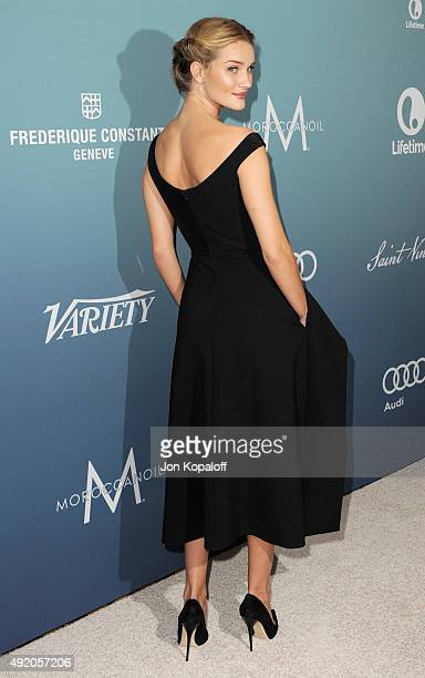 Actress Rosie Huntington-Whiteley arrives at Variety's Power Of Women Luncheon at the Beverly Wilshire Four Seasons Hotel on October 9, 2015 in...