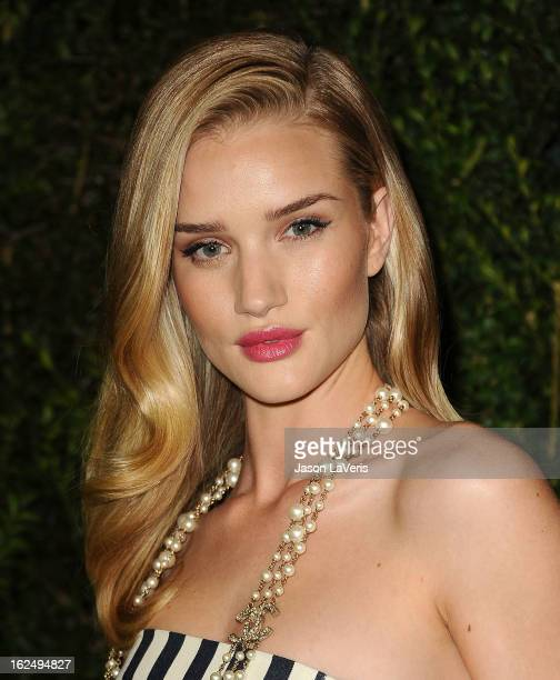Actress Rosie HuntingtonWhiteley attends the Chanel PreOscar dinner at Madeo Restaurant on February 23 2013 in Los Angeles California