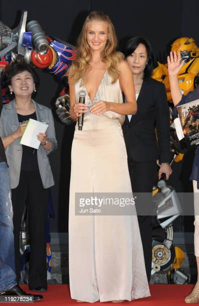 Actress Rosie HuntingtonWhiteley attends the 'Transformers Dark of the Moon' premier event at Osaka City Office on July 16 2011 in Osaka Japan The...