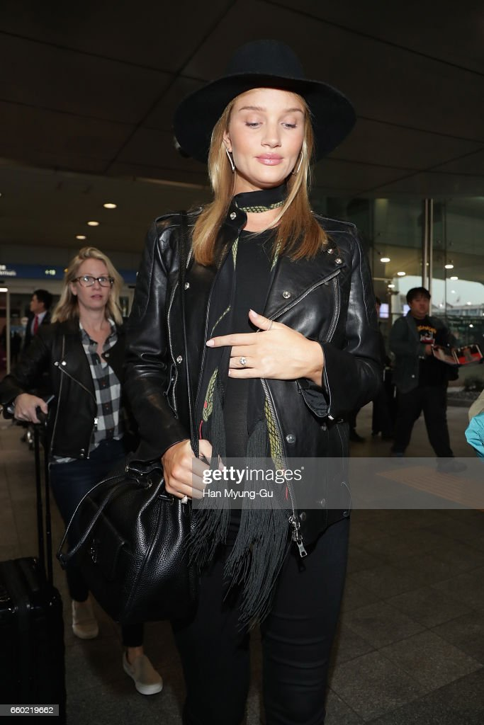 Actress Rosie Huntington-Whiteley is seen upon arrival at Incheon International Airport on March 29, 2017 in Incheon, South Korea.