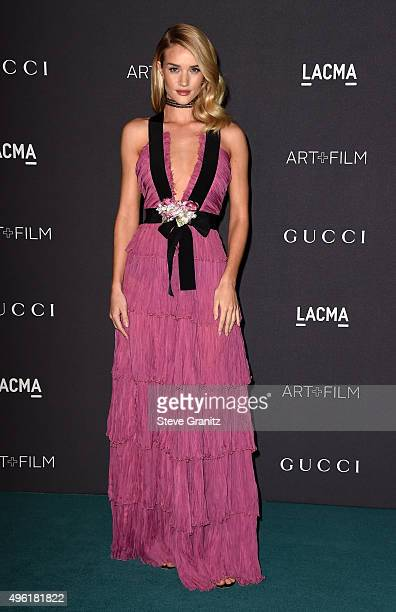 Actress Rosie HuntingtonWhiteley wearing Gucci attends LACMA 2015 ArtFilm Gala Honoring James Turrell and Alejandro G Iñárritu Presented by Gucci at...