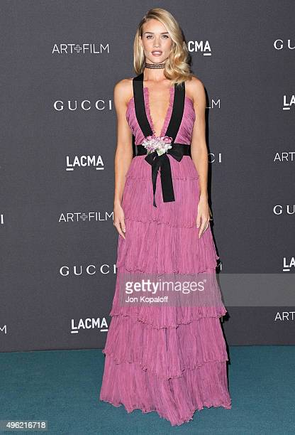 Actress Rosie HuntingtonWhiteley wearing Gucci attends the LACMA Art Film Gala honoring Alejandro Gonzalez Iarritu and James Turrell and presented by...