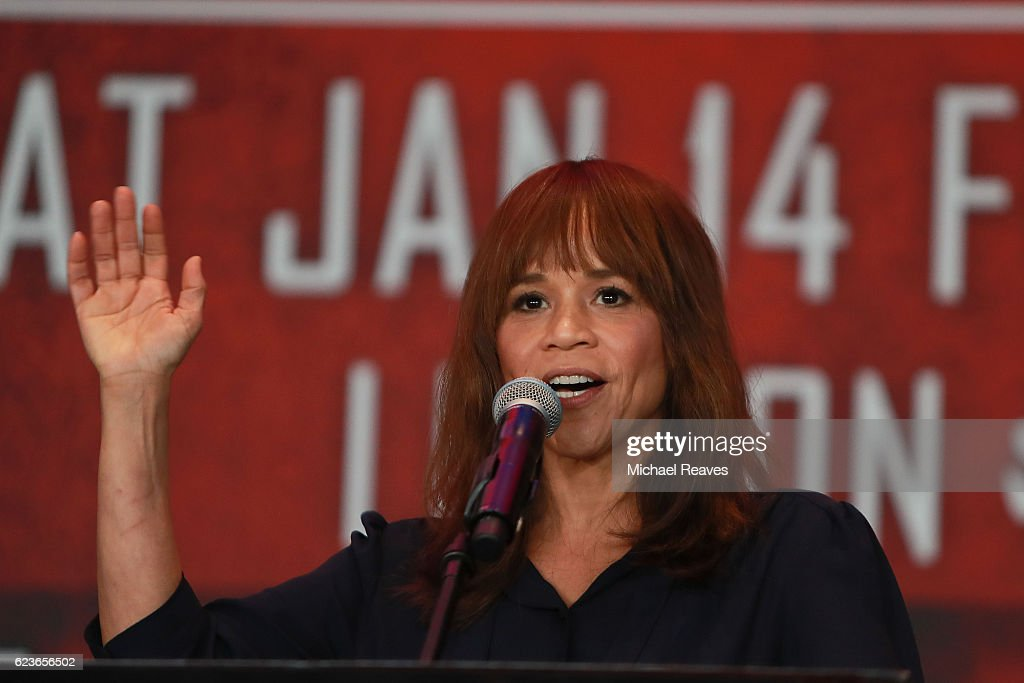 Actress Rosie Perez addresses the crowd during the press conference announcing the Badou Jack v James DeGale Super Middleweight World Title Unification Bout at Barclays Center on November 16, 2016 in the Brooklyn borough of New York City.