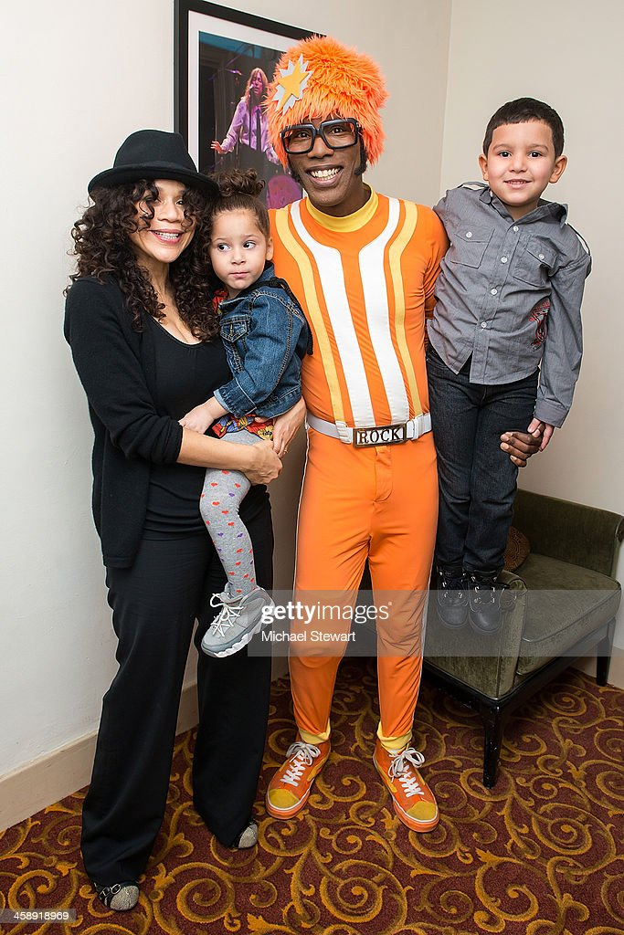 Actress Rosie Perez (L) and DJ Lance Rock with children attend 'Yo Gabba Gabba! Live!' at The Beacon Theatre on December 22, 2013 in New York City.