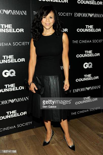 Actress Rosie Perez attends the Emporio Armani with GQ The Cinema Society screening of 'The Counselor' at the Crosby Street Hotel on October 9 2013...