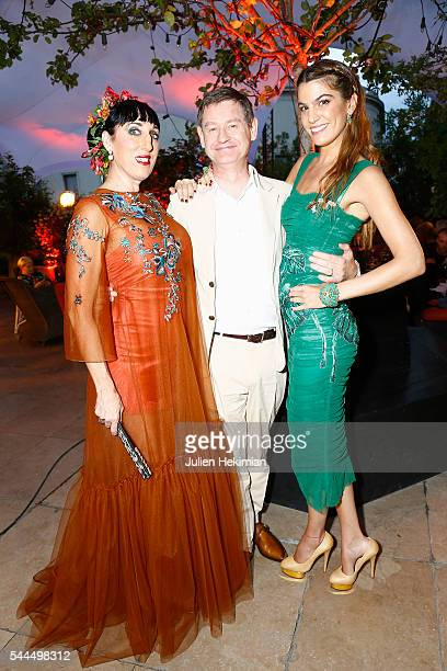 Actress Rossy de Palma Cartier International CEO Cyrille Vigneron and Bianca Brandolini attend the Cactus Cartier Cocktail Party at Palais De Tokyo...