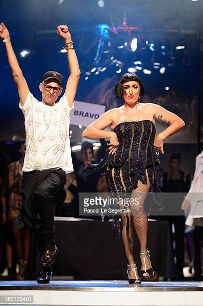 Actress Rossy de Palma dances at the end of the Jean Paul Gaultier show as part of the Paris Fashion Week Womenswear Spring/Summer 2014 at Le Paradis...