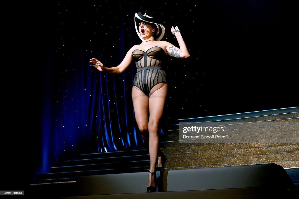 Actress Rossy de Palma performs at the last Jean Paul Gaultier Womenswear show as part of the Paris Fashion Week Womenswear Spring/Summer 2015. Held at 'Le Grand Rex' on September 27, 2014 in Paris, France.