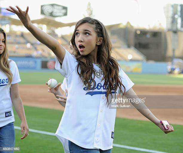 Actress Rowan Blanchard on the field before the game between the Colorado Rockies and Los Angeles Dodgers at Dodger Stadium on June 18 2014 in Los...