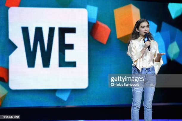 Actress Rowan Blanchard speaks on stage during WE Day New York Welcome to celebrate young people changing the world at Radio City Music Hall on April...