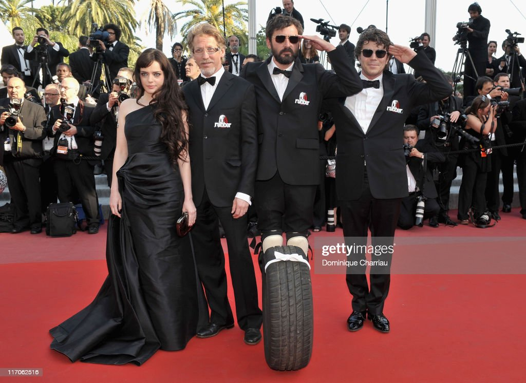 Actress Roxane Mesquida, guest, direct Quentin Dupieux and actor Daniel Quinn attend the premiere of 'Biutiful' held at the Palais des Festivals during the 63rd Annual International Cannes Film Festival on May 17, 2010 in Cannes, France.