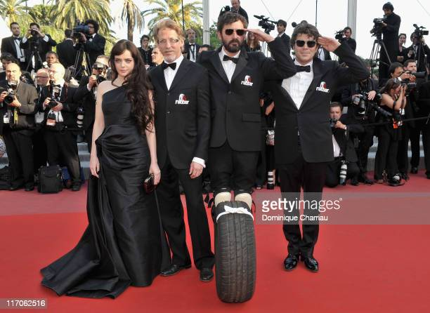 Actress Roxane Mesquida guest direct Quentin Dupieux and actor Daniel Quinn attend the premiere of 'Biutiful' held at the Palais des Festivals during...
