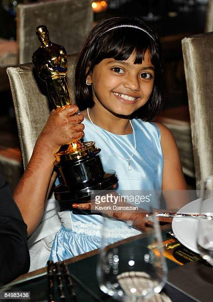 Actress Rubina Ali holds one of the Academy Award statues that 'Slumdog Millionaire' won at the 81st Annual Academy Awards Governor's Ball held at...