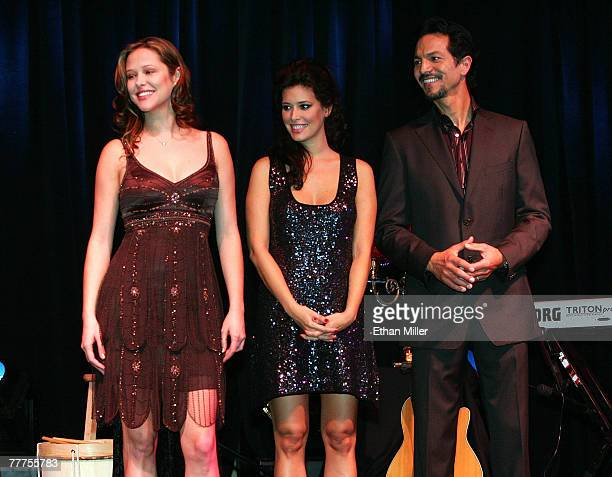 Actress Rubria Marcheens Negrao actress Angie Cepeda and actor Benjamin Bratt onstage during 'An Evening of Love' benefitting The Bare Feet...