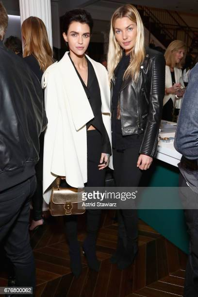 Actress Ruby Rose and Model Jessica Hart attend the launch of the Burberry DK88 Bag hosted by Christopher Bailey at Burberry Soho on May 2 2017 in...