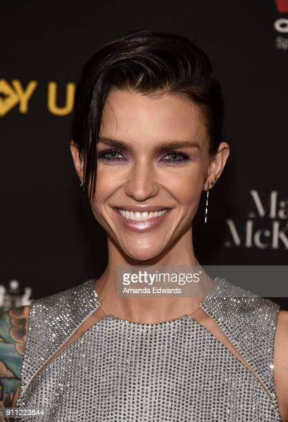 Actress Ruby Rose arrives at the 2018 G'Day USA Los Angeles Black Tie Gala at the InterContinental Los Angeles Downtown on January 27 2018 in Los...