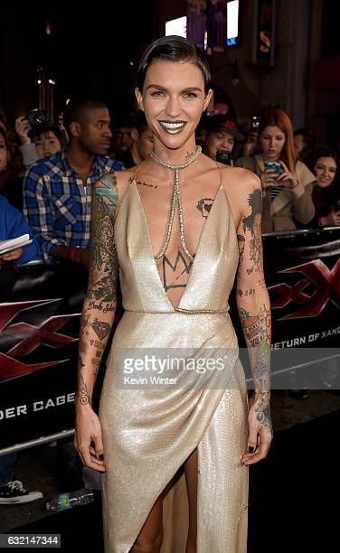 Actress Ruby Rose arrives at the premiere of Paramount Pictures' 'xXx Return of Xander Cage' at the Chinese Theatre on January 19 2017 in Los Angeles...
