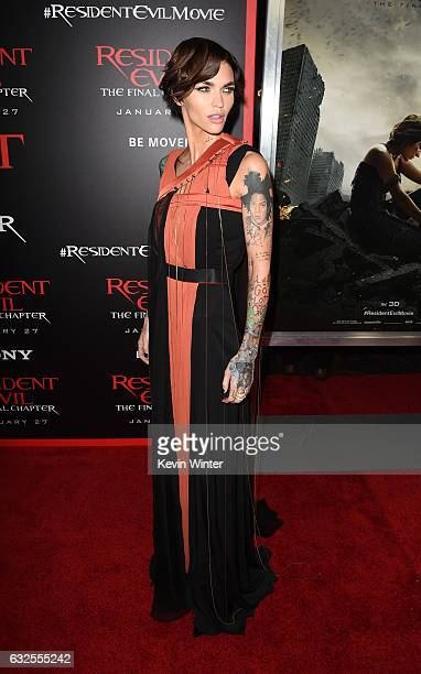 Actress Ruby Rose arrives at the premiere of Sony Pictures Releasing's Resident Evil The Final Chapter at the Regal LA Live Theatres on January 23...