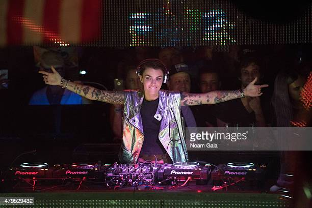Actress Ruby Rose DJ's at Pacha's Independence Day bash on July 4 2015 in New York City