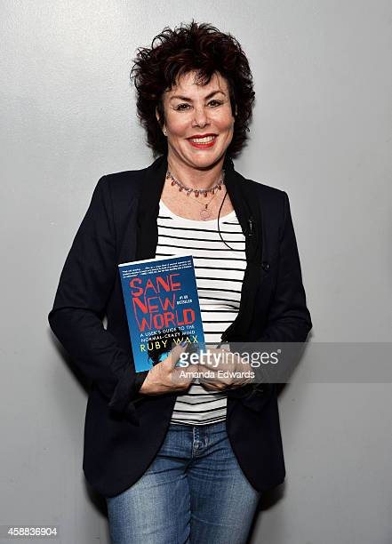 Actress Ruby Wax attends the Live Talks Los Angeles Ruby Wax In Conversation With Carrie Fisher event at the Aero Theatre on November 11 2014 in...