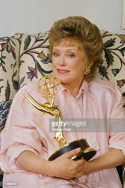 Actress Rue McClanahan of TV's The Golden Girls clutches her Emmy Award in a 1987 Los Angeles California portrait session McClanahan won the Emmy for...